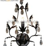 MW4615-1 Antique Black With and Clear Crystals Wall Light Wall Sconce Wall Lamp Vintage Industrial Lighting