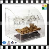 2016 Wholesale Custom-made countertop acrylic short bakery display case/bread,cookies,pastry storage display cabinet