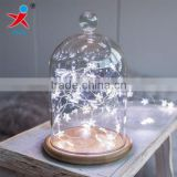 wholesales modern glass domes bamboo base with led string lights for home decoration