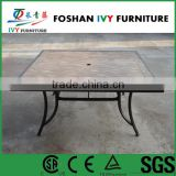 outdoor all weather ceramic tile dinner square table for restaurant