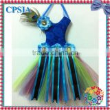 2014 Posh Royal Blue Printed Tutu Bow Holder cheap Multicolour Tutu dress bow holder With Peacock Feathers