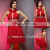 2011 Hot Sale Chiffion Sleeveless Halter Red Beaded Cocktail Dress