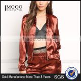 MGOO Custom Made Brown Satin Shiny Bomber Jackets Women Outwear Spring Tops Latest New Designs Tops