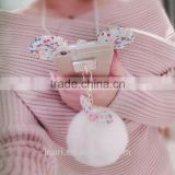 Hot selling New Rabbit Pom Pom Fur Ball Bow Cell Phone Keychain Pendant Charm Key Chain Mirror Case For iPhone
