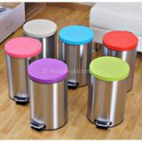 Modern Multi-colored Household Estilo Round Brushed Stainless Steel Metal Garbage Waste Bin Step Trash Can Fingerprint Resistant 5/7/12L