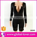 2017 wholesale women adult female sexy long sleeve black bodysuits