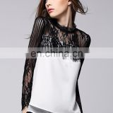 Office lady elegant stand lace collar with white crepe long sleeves sexy blouse