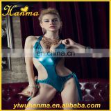 Imitation leather blue nightclub wear cosplay hot erotic lingerie sexy dance costume