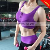 New Women Padded Top Athletic Vest Gym Fitness Front Zip Sports Bra Stretch Bra Wholesales