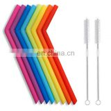 Professional Custom Food grade silicone straw with curved shape