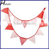Red and White Star Dot Pattern Fabric Bunting 12 Flag Christening Baby Shower PL001