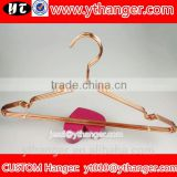 YY0512 hot selling sale hangers for clothes metal copper wire hangers with clips                                                                                                         Supplier's Choice