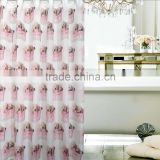 Lovely style for children,cute pink doggies printed polyester shower curtain, waterproof,mildew resistant,eco-friendly curtain