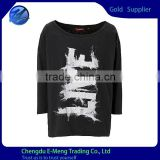 Woman Long Sleeve Custom Printed Fashion Loose Tshirt