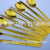 Titanium Gold painting stainless steel spoon and chopsticks sets