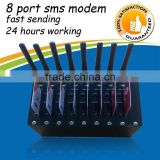 8 port gsm modem send bulk sms with free software SMS caster 900/1800mhz or 850/900/1800/1900
