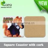 Sublimation printable MDF personalized Coaster With cork for round rectangle heart shape