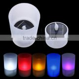 Novelty Colorful Changing Flameless Night Lights Solar Power & Battery Power Luminaria Light Sensor LED Night Light Candle Lamp