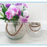 Wholesale two different designs clear glass candle holder with rope handle for home decoration