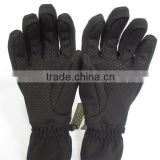 Adults Fleece lining silicone print five finger warm gloves