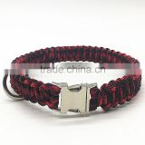 Wholesale Custom Cobra Weave Paracord Dog Collar with Metal Side Release Buckle / Shackle Paracord Led Dog Collar