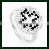 Women's Silver Cross Ring with black and white diamond stone