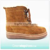Classic Fashion Brown Cow Suede Leather Winter Boots For Women