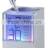 LCD clock in colorful back light with pen holder