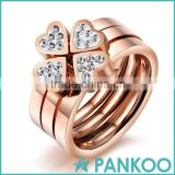 2016 fishion jewelry lucky clover rose gold plated stainless steel inlay cubic zirconia rings