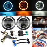 Round Led Headlight Jeep Wrangler With 7 Inch Halo Angel Eyes, H4 Hi/Low 45w DRL Led Headlamp Kit