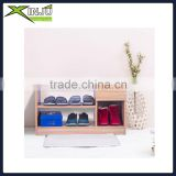 Bamboo bench shoe rack cabinet