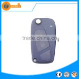 high quality blue 2 button flip remote key shell with logo uncut blade battery place for fiat doblo ducato panda brava