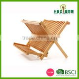kitchen bamboo folding dish rack/cabinet dish rack/wooden dish rack wholesale