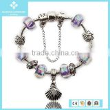 Fashionable Metal Shell Alloy Jewelry Flower Beaded Bracelet Hand Chain For Men