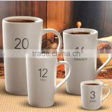 High quality custom private label tea set white color ceramic coffee mugs for promotion