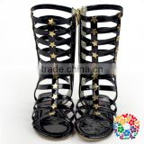 Children Girls Fashion Summer Shoes Bling Bling Long Black Sandals Shoes