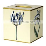 Tissue Box Cover Square Wood Bathroom Accessories Dispenser wooden tissure box Holder Blue Floral CN