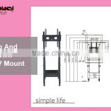 Tilting screen LCD TV wall mount, mobile TV holder bracket cart with wheels