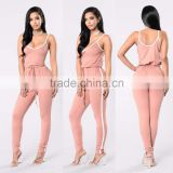 Pink Latex Full Body Catsuit Sexy Deep Scoop Neck White Trim Drawstring Custom Sexy Women Jumpsuits