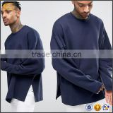 Ecoach dropped shoulders zip side splits100%cotton oversized plain wholesale crewneck men's sweatshirt