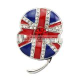 Crystal Poppy UK Brooch Beautiful Red Crystal Rhinestone Poppy Brooch UK flag British flag Brooch