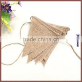 2.8m Long 13 Flags Vintage Linen DIY Blank Burlap Banner Jute Bunting Flag for Wedding Birthday Christmas Party Decor