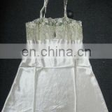Lady's 100%polyester satin chemise with emb.lace underwear lingerie