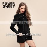 2014 original design european sexy style casual black cat suit wtih fur hoodie neck designs for ladies suit