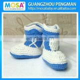 Crochet Toddler Boys Boots Darker Blue White Cowboy Winter Booties