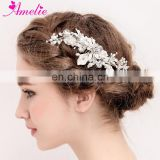Bridal Hair Accessories Freshwater Pearls Enamel Leaf Clusters Lush Wedding Hair Side Comb Women Headwear For Jolly Holiday