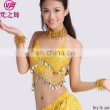 S-3012 Wholesale cheap shiny cloth hot selling hanging coin belly dance top clothes