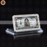 WR Collectible Pure Silver Bar USD 1000 Dollar Banknote Metal Coin with Plastic Case for Souvenir Gifts