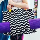 canvas yoga bag with full printed chevron style