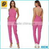 Latest halterneck design sexy backless women jumpsuit 2015